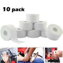 10 pacote de fita atlética em algodão branco esporte fita adesiva bandagem elástica joelho pulso tornozelos suporte muscular-rasgo fácil