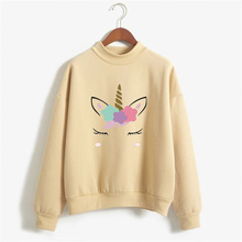 Autumn sweatshirt unicorn cute pattern female models round neck  fleece sports women's sweatshirt loose leisure