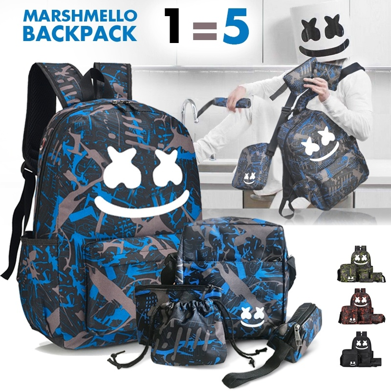 5Pcs/Set DJ Luminous Backpack Marshmellow Fans School Bag Outdoor Travel Backpack For Girls And Boys Youth Campus Shoulder Bag