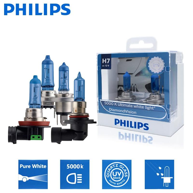 2 шт., галогенные лампы Philips H1 H4 H7 H8 H11 HB2 HB3 HB4 9003 9005 9006 12 В Diamond Vision 5000K