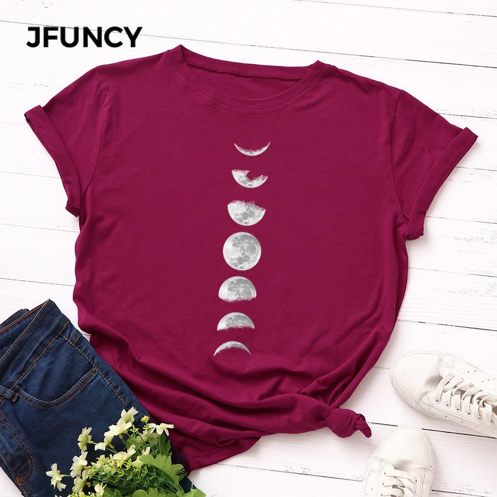 JFUNCY Plus Size Tshirt S-5XL New Moon Print T Shirt Women 100% Cotton O Neck Short Sleeve T-Shirt Tops Summer Casual Shirts 5
