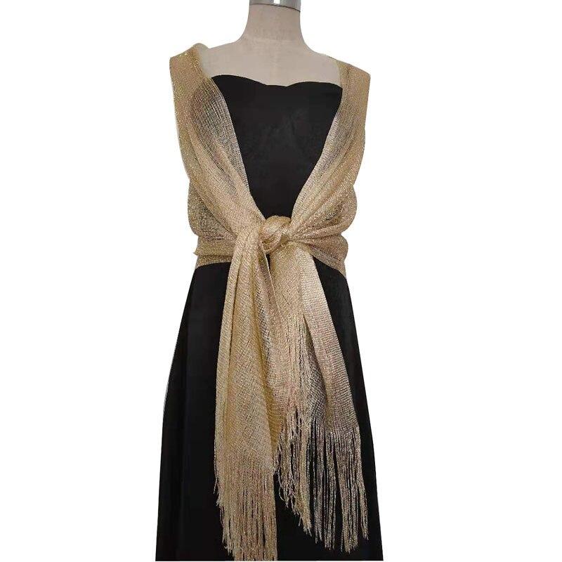 Elegant Gold And Silver Silk Scarf  Women Bride Dress Tippet Scarves Dance Wedding Party Evening Shawl Feminine Tassel Scarf