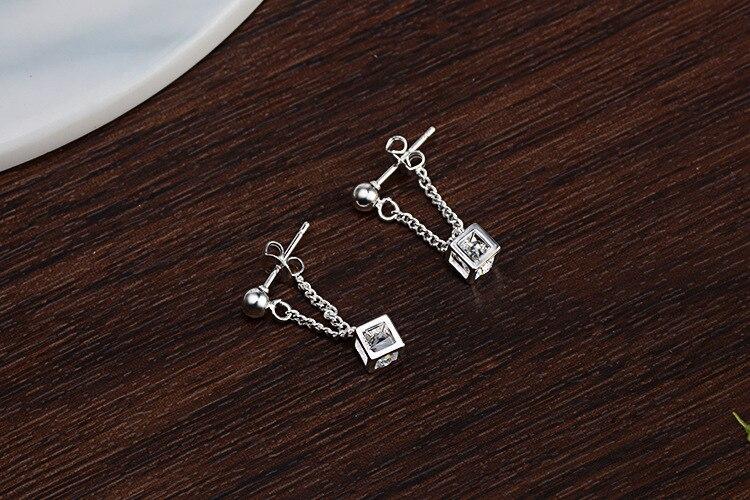 Simple Elegant 925 Sterling Silver Cube Love Window Zircon Tassel Sugar Drop Earrings For Women brincos oorbellen Best Gift