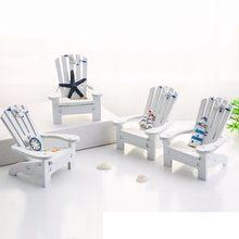Estilo mediterrâneo de madeira mini cadeira praia casa decoração do quarto das crianças suporte do telefone móvel foto adereços casa náutica dec
