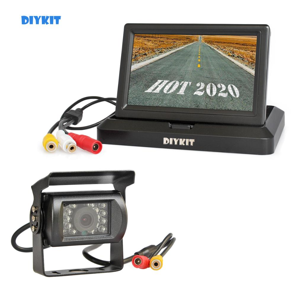 DIYKIT Wired 5 inch Foldable TFT LCD Monitor Waterproof IR Night Vision CCD Rear View Car Camera for Truck Caravan Bus Van camera for truck rear view car camera rear view camera - title=