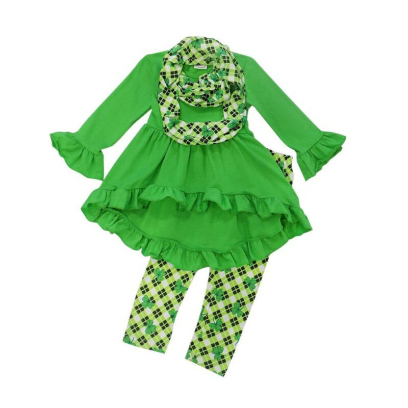 Pudcoco 3PCS Kids Baby Girl Clothes Long Sleeve Tops Dress Clover Pants Scarf Outfits thumbnail