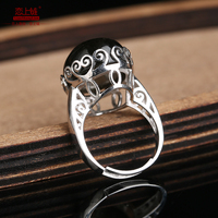 Natural gold obsidian ring for women with 925 sterling silver rings beads 18mm brand jewelry add certificate