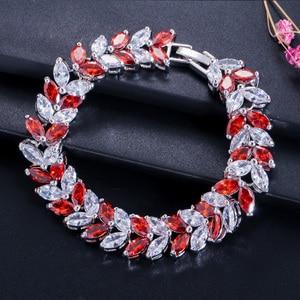 Image 5 - Pera Luxe 925 Sterling Zilveren Bruids Partij Sieraden Bladvorm Cz Crystal Stone Grote Bruiloft Armbanden Armband Voor Bruiden B025