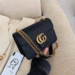 Bolsa de mujer con textura de alto grado Bags2019 nuevo estilo coreano letras de moda cuadrado Sling Bolsa cadena hombro pequeño CK bolsa