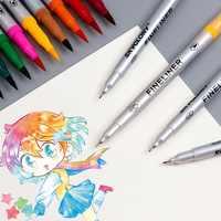 12/24 pennarello colore della penna set Doppio lato scrittura Raffinata Fodera Bold Pennello di pittura calligrafia disegno disegno manga Scuola di Arte F821