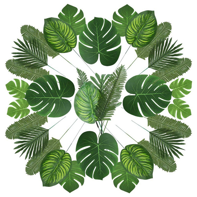 90 Artificial Palm Leaves With Stem For Tropical Party Decoration Aloha Jungle Beach Anniversary Palm Leaves