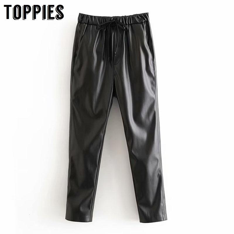 Pantalones de chándal de piel sintética para mujer, pantalón con cordón en la cintura, de Pu, color negro, para invierno