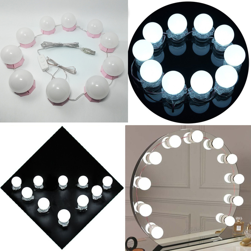 Image 4 - Makeup Mirror Vanity LED Light Bulbs Kit USB Charging Port Cosmetic Lighted Bulb Profession Makeup Mirrors Brightness Lights D43-in Makeup Mirrors from Beauty & Health