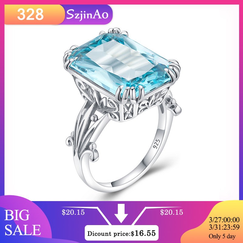 Szjinao Anillos Plata 925 Para Mujer Anchos Aquamarine Sky Blue Topaz Ring Fine For Wedding Birthstone Diy Branded Jeweller Gift
