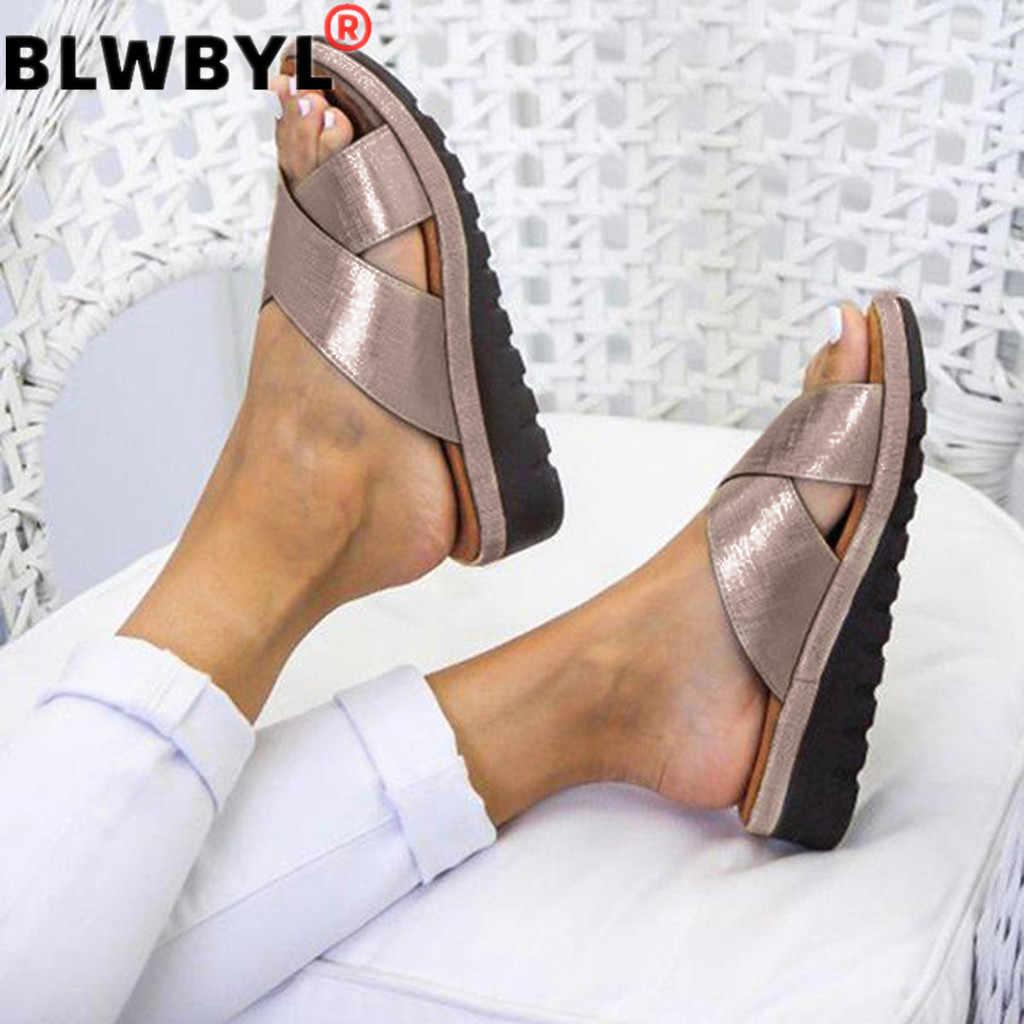 Kadın PU deri 2019 yaz rahat platformu düz taban bayanlar rahat yumuşak büyük basit siyah Sandal ayakkabı artı boyutu 35-43