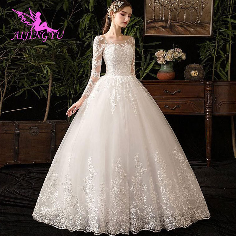AIJINGYU 2018 V-neck Free Shipping New Hot Selling Cheap Ball Gown Lace Up Back Formal Bride Dresses Wedding Dress FU292
