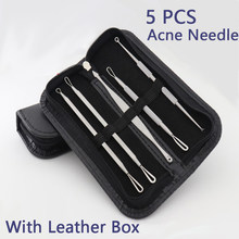 5pcs/set Extrusion Of Acne Stick Against Black Dot Tools Stainless Steel Face Removing Black Dot Cleaning Pore Blackhead Remover(China)