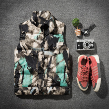 Winter Cotton Camo Vest Men Warm Thick Fashion Print Casual Sleeveless Jacket Man Streetwear Loose Collar Coat S-3XL