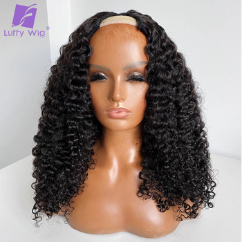"""Kinky Curly U Part Wig Human Hair Glueless Remy Brazilian Upart Human Hair Wigs 2""""x4"""" Middle Part Opening 180 Density Luffywig"""