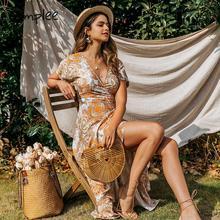 Simplee sexy decote em v boho vestido verão babados cintura alta floral impressão vestido feminino férias primavera algodão envoltório casual vestido de festa