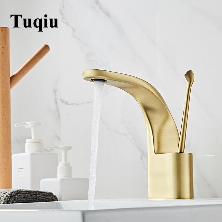 Tuqiu Basin Faucet Modern Brushed Gold