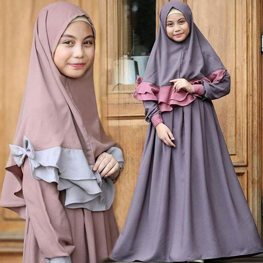 Hijab+abaya Dress For Princess Kids Girls Solid Color Muslim Traditional Costumes Arab Islamic Children Girls Kimono Dress