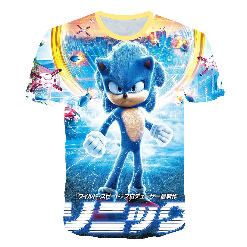 3d Baby Boys Clothes Sonic The Hedgehog Kids T Shirt Summer Fashion Unisex Children White Tees Baby Kids Tops For Girls Clothes Leather Bag