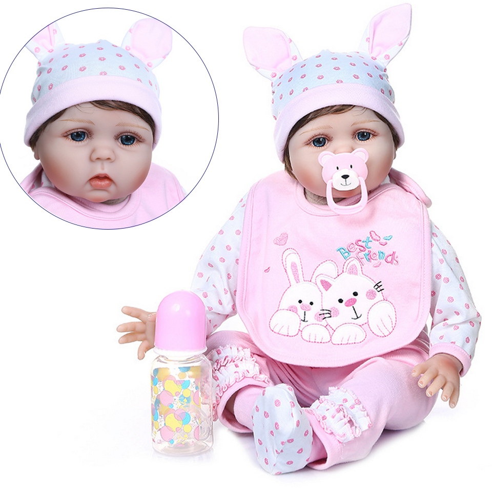 56CM reborn toddler girl doll soft silicone 0-3M real baby size bebe doll reborn bebe reborn baby dolls birthday party gift