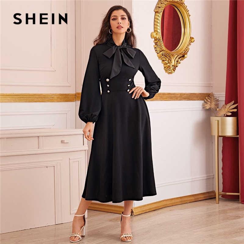 SHEIN Black Tie คอ Buttoned เอว Elegant Maxi ชุดผู้หญิงฤดูใบไม้ร่วงบิชอปสูงเอวสุภาพสตรี Flared ชุดยาว