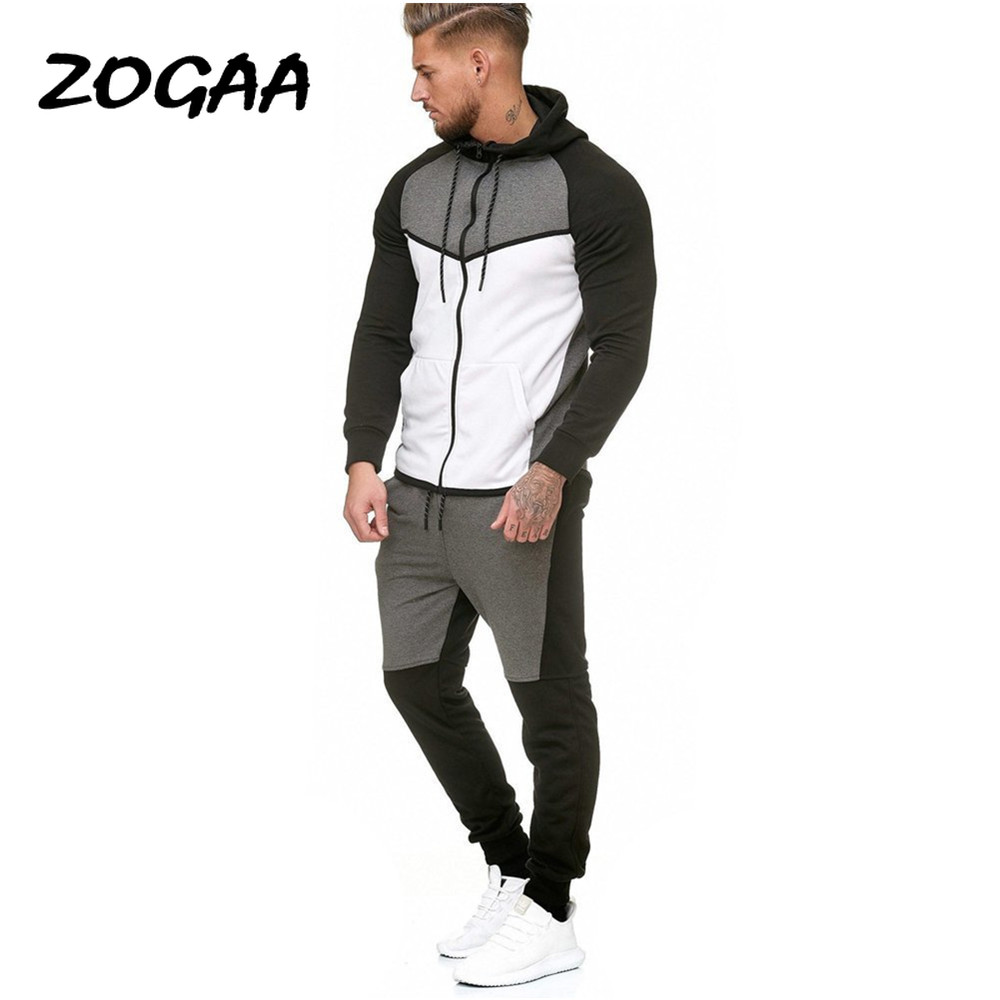 ZOGAA Autumn And Winter Men's Stitching Fleece Sweater Sweater Pants Suit Outdoor Sports Leisure Solid Color Suit