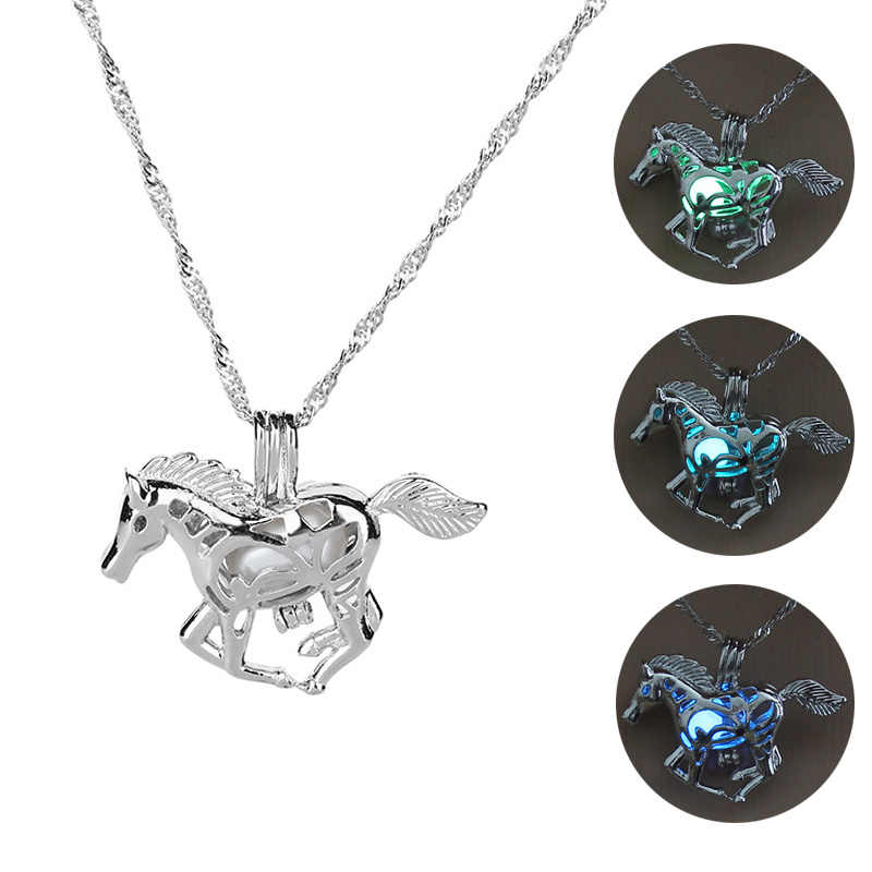 Hot Sale Running Horse Luminous Locket Pendant Necklace Glowing in the Dark Vintage Jewelry Necklace For Women Silver Choker