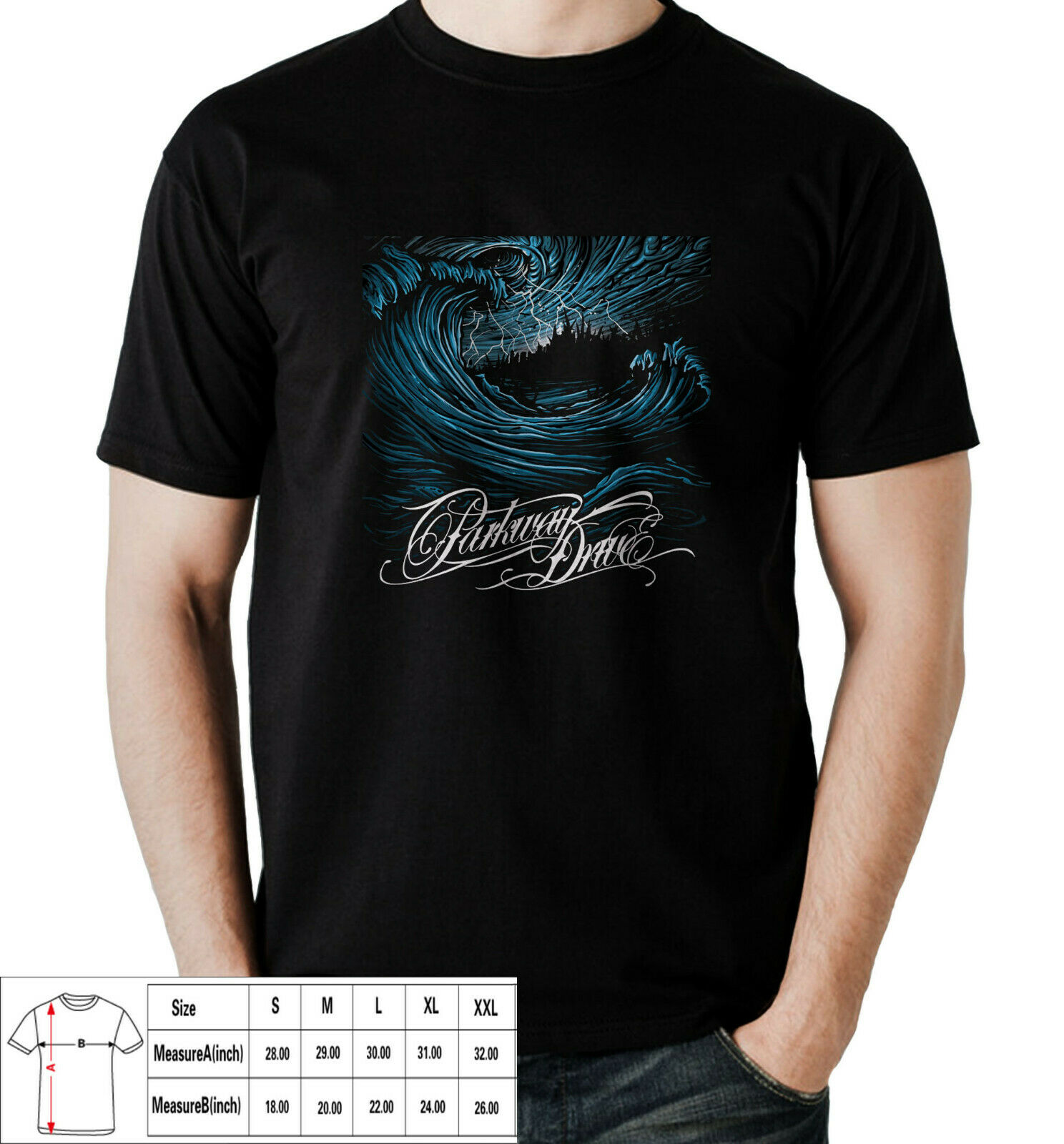 Parkway Drive Deep Blue metalcore band T-shirt For Men S-3XL ASIA Size Tee Shirt For Men O-Neck Tops Male image