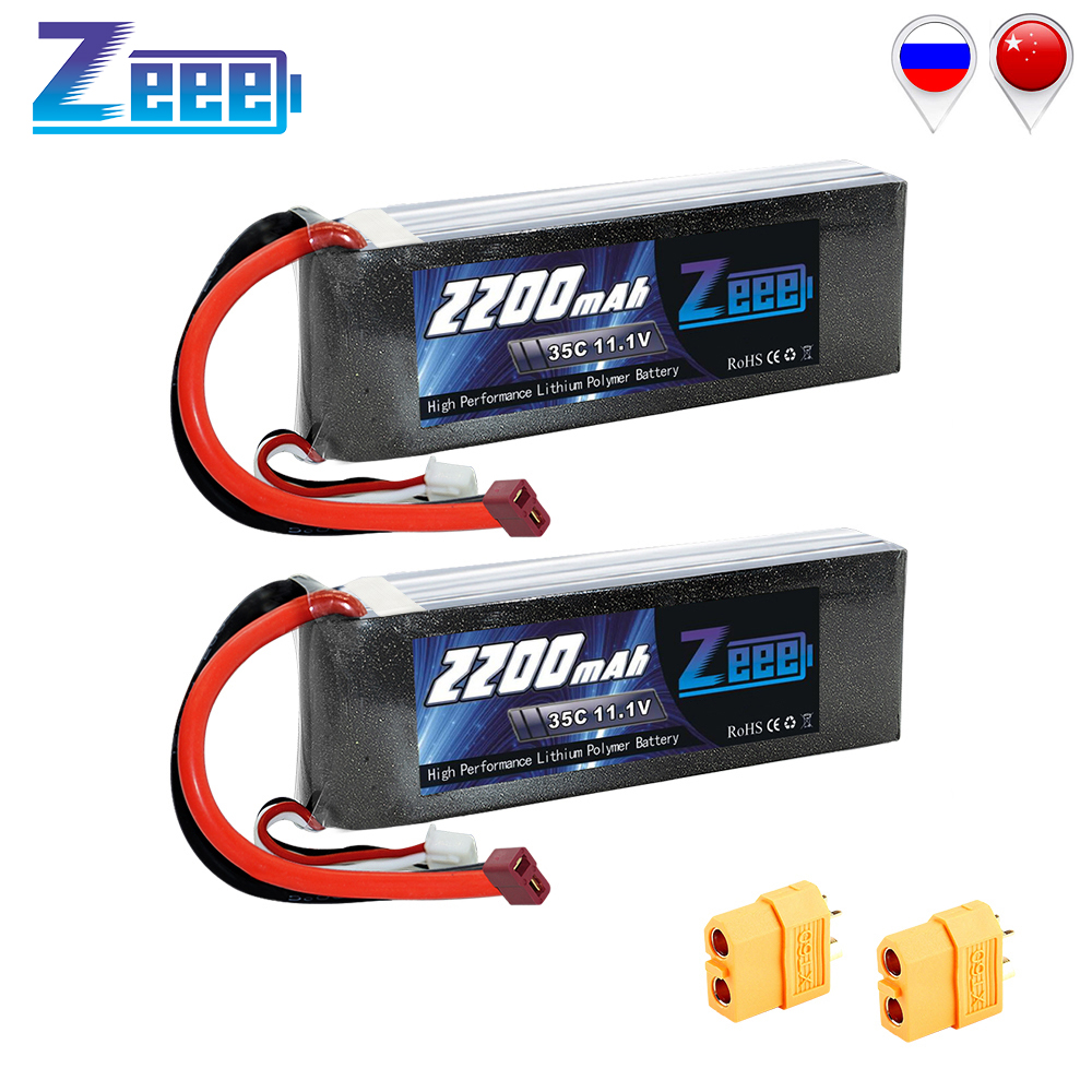 2units Zeee <font><b>2200mAh</b></font> RC <font><b>LiPo</b></font> Battery <font><b>11.1V</b></font> 3S for RC Car Battery 35C with Deans Plug For RC Helicopter Drone Boat Airpplane image