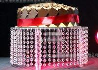 1PCS Wedding Transparent Acrylic Cake Stand Centerpiec Diameter40cm x Height20cm With Leds