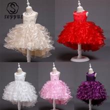 Skyyue детское платье с цветочным узором для девочек для приталенный смокинг, брендовый модный белый свадебный красная Аппликация Жемчуг Детские вечерние платье для причастия, платье с фатиновой юбкой бальное платье белого и розового цветов 851