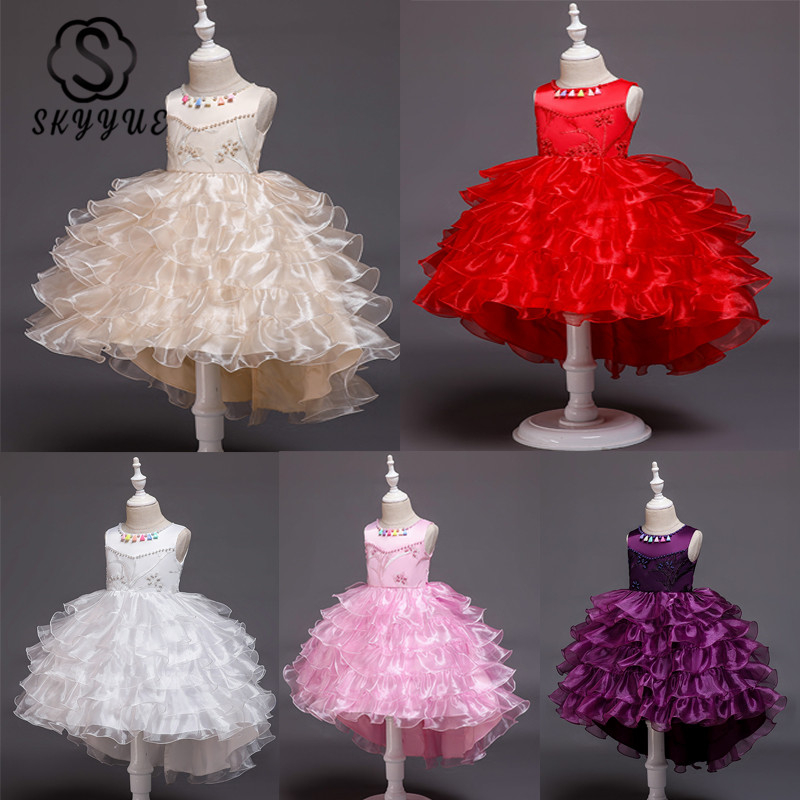 Skyyue Kid Flower Girl Dress For Wedding White Red Applique Pearls Kid Party Communion Dress Tulle Ball Gown White Pink 2019 851