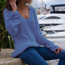 women pullovers knitwear sweater Casual Long Sleeve Jumper V Neck Sweaters Blouse Tops 8.17