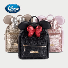 New Disney PU Leather Bow Sequined Minnie Backpack Disneyland Girl Fashion Backpack Women Bag Trend All-match Limited Collection