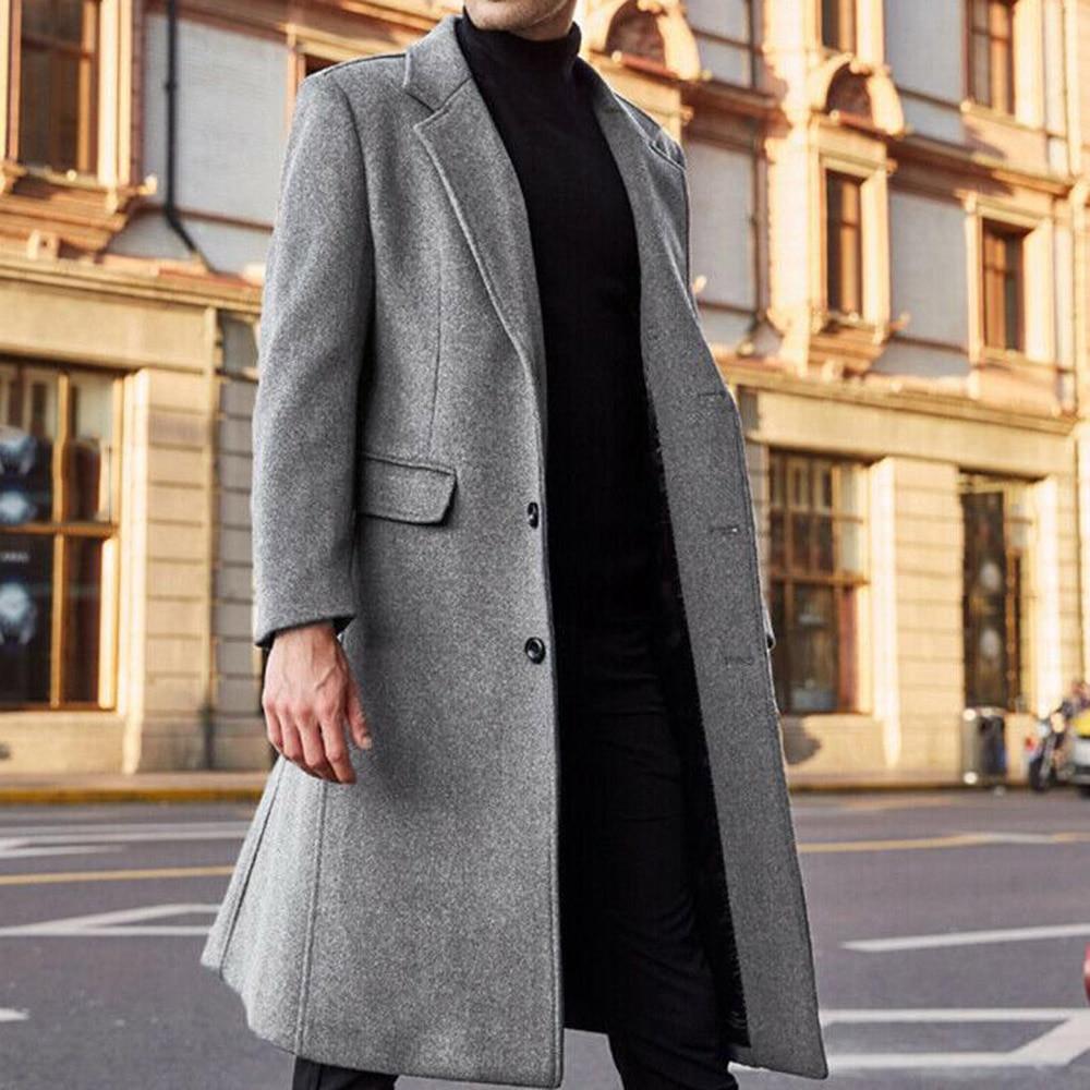 Fashion Autumn Winter Wool Coat Men Casual Woolen Blends Slim Fit Outwear Abrigo Hombre Casacos Mens Long Trench Coats 3XL