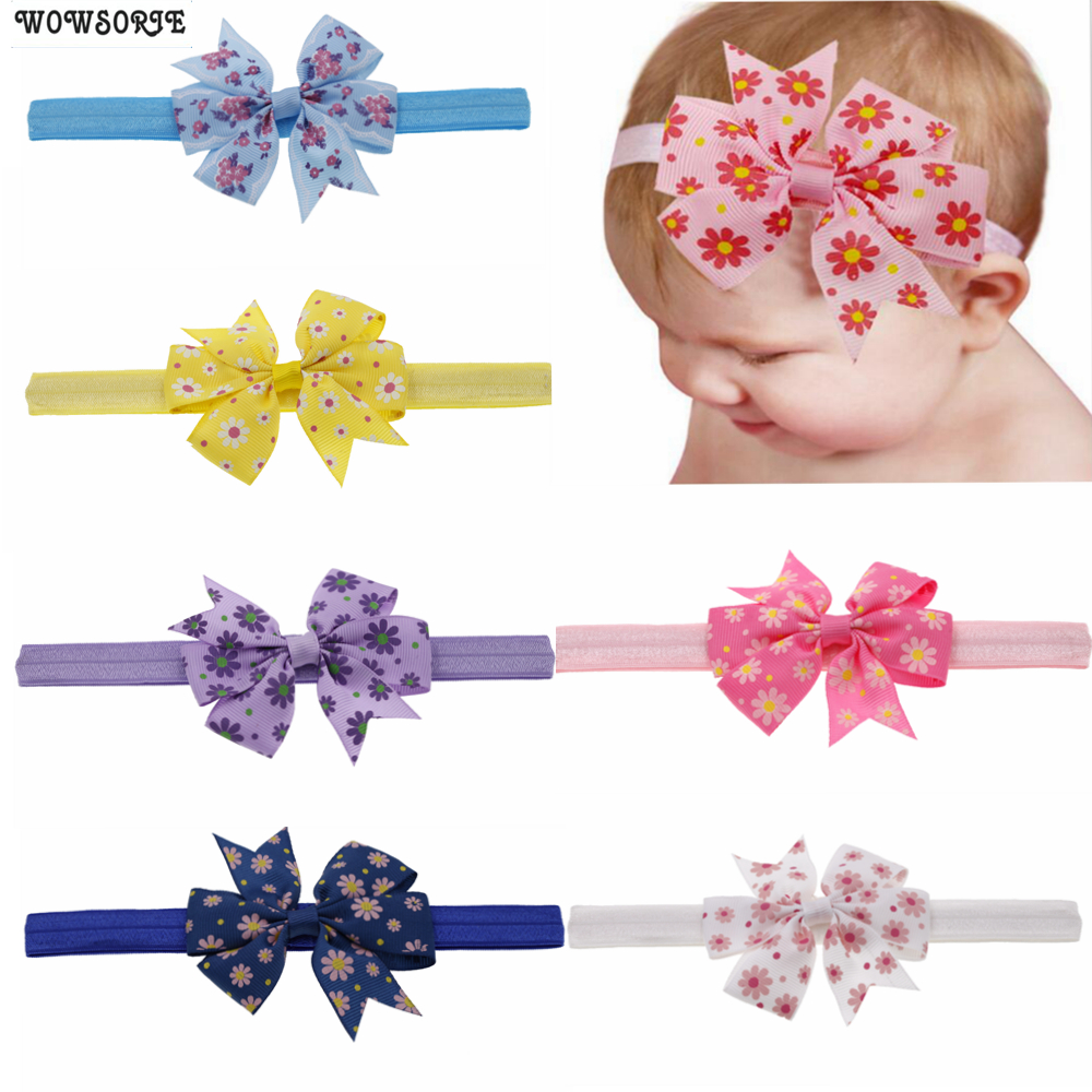 Baby Headband Printed Knot Hair Bow Flower Headband Girls Accessories Elastic Hair Band Kids Children Hair Accessories