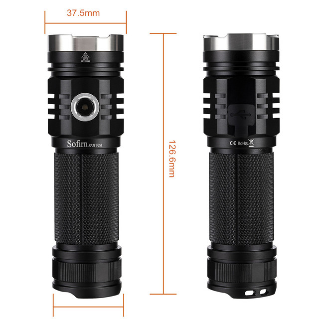 Sofirn SP33V3.0 3500lm Powerful LED Flashlight  Type C USB Rechargeable Torch Light Cree XHP50.2 with Power Indicator 4