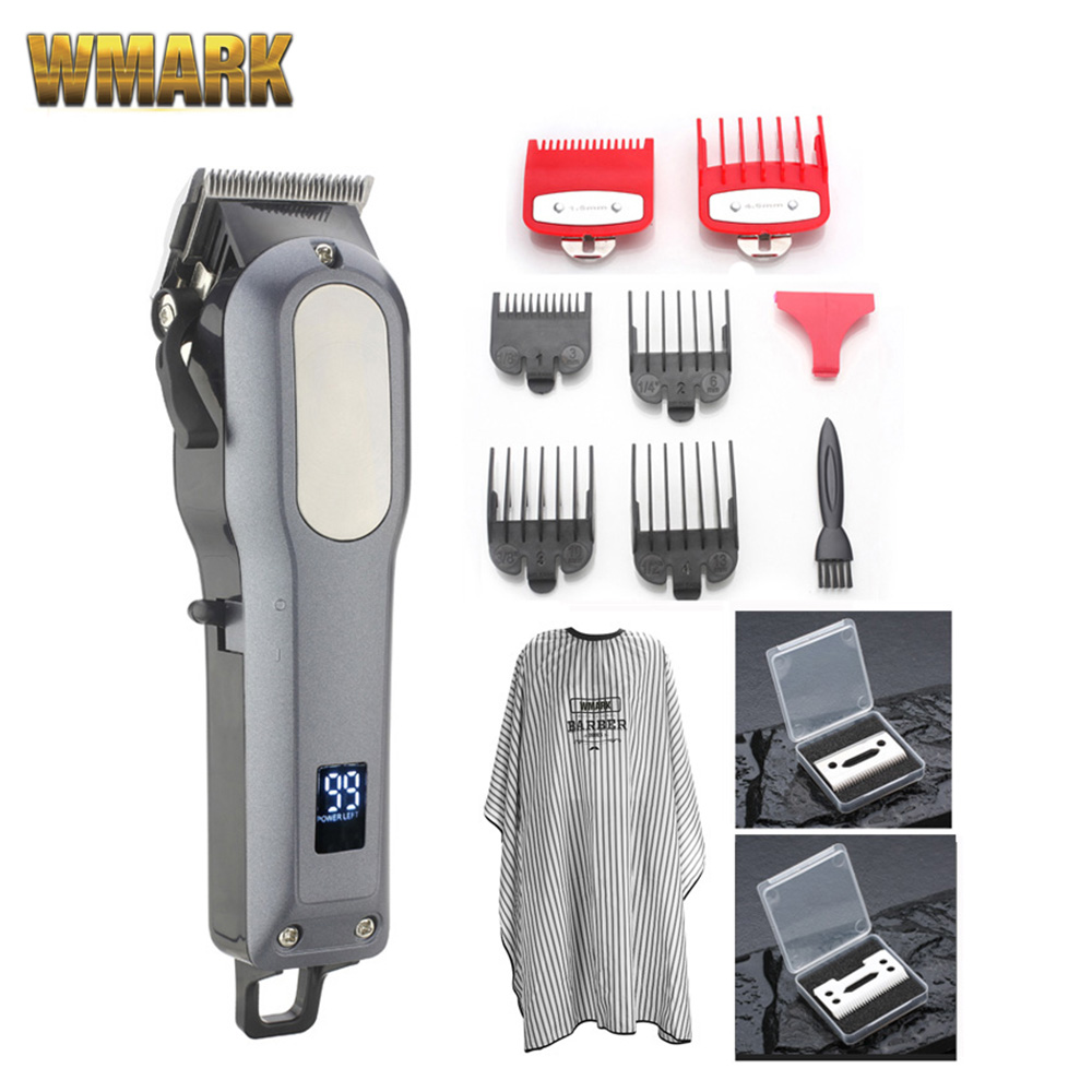 WMARK Cordless Rechargeable Hair Cutter Hair Trimmer 2000mAh Lithium Battery 6000-6500rm Professional Hair Clipper With Gift
