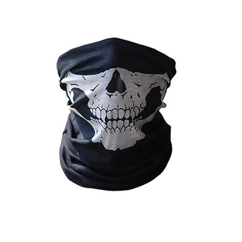 Halloween Bandanas Windproof Skeleton Skull Scarf Neck Half Warmer Face Mask Ghost Scarves for Outdoor Sports Climbing Hiking 1