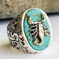 Böhmen Vintage Stein Mosaik Ring Band Geschnitzte Schädel Skorpion Tier Große Oval Alte Nationale Knuckle Ring Schmuck