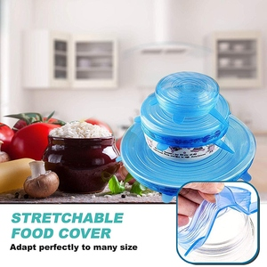 Fashion-Silicone Flexible Stretch Lids Blue the Stretchable Instalids Silicone Cover Lid to Fit Multiple Containers and Keep Foo