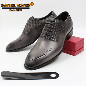 Image 2 - LUXURY BRAND MEN OXFORD SHOES ITALIAN HANDMADE GENUINE LEATHER FORMAL SHOES LACE UP GRAY OFFICE BUSINESS WEDDING DRESS SHOES MEN