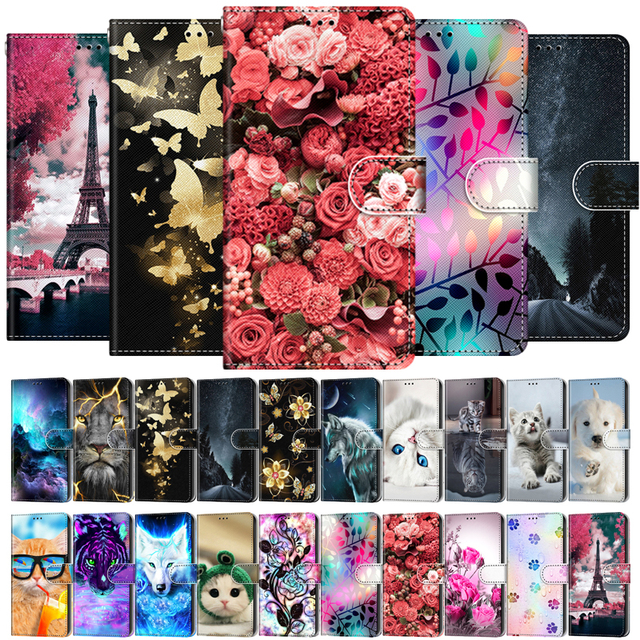 Etui On For OPPO A15 Case Wallet Flip Leather Case For OPPOA A 15 A15s CPH2185 CPH2179 6.52 inch Cute Animal Phone Cover