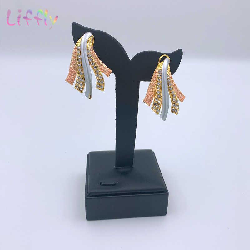 Juego de joyas de Color indio para novias, collar redondo, pulsera, pendientes de oro, anillo de estilo africano, cristal de boda de moda, joyería