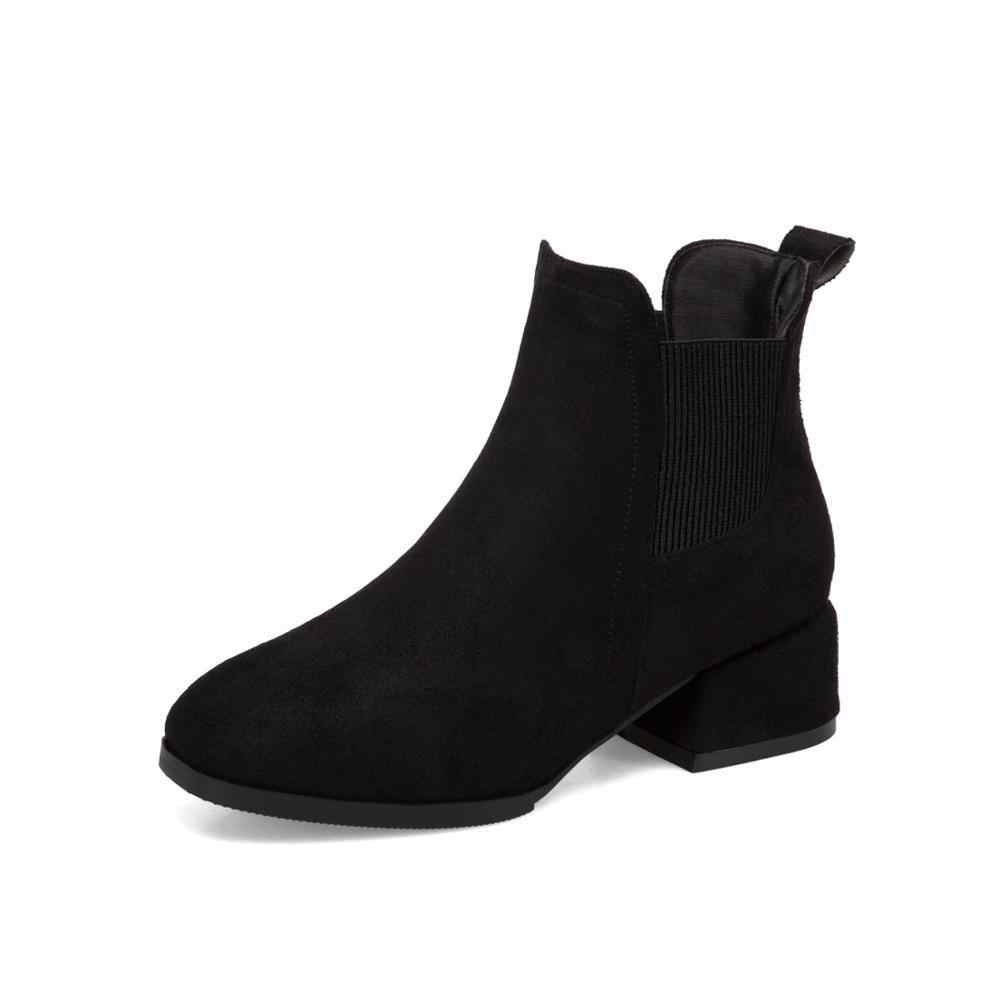 Women Autumn Winter Flock Ankle Boots Slip-on Round Toe 4cm Square Heel Solid Casual Black/Camel Booties Size 35-43