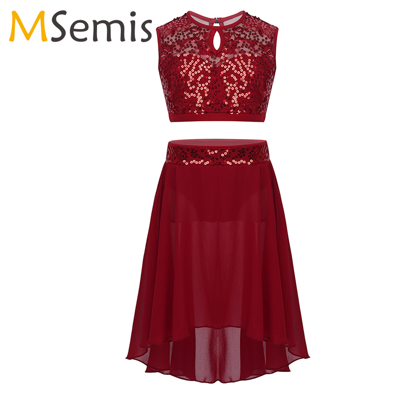 Girls Lyrical Dance Costumes Ballet Dress Sleeveless Sequined Crop Top with Dipped Hem Chiffon Skirt Set for Celebration DancingBallet   -